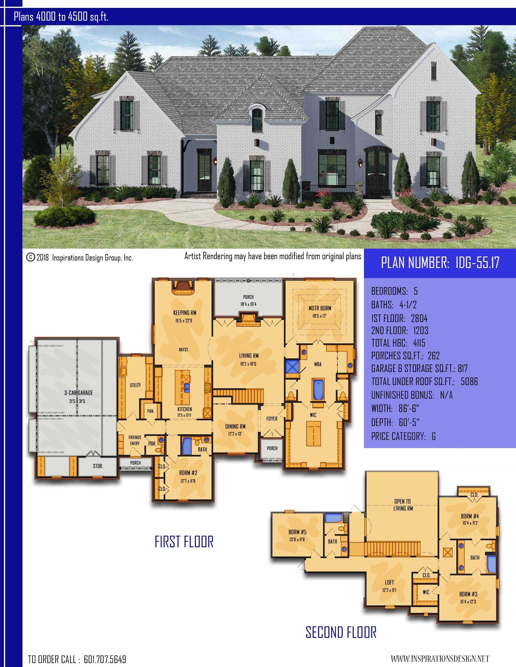 Plan Idg 55 17 Exquisite Open Concept 4115 Sq Ft 5 Bdrm 4 1 2 Bath House Plans Farmhouse House Plans Farmhouse Plans