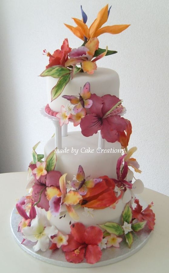 Bride Wanted A Tropical Wedding Cake With Bird Of Paradise On Top Lemon