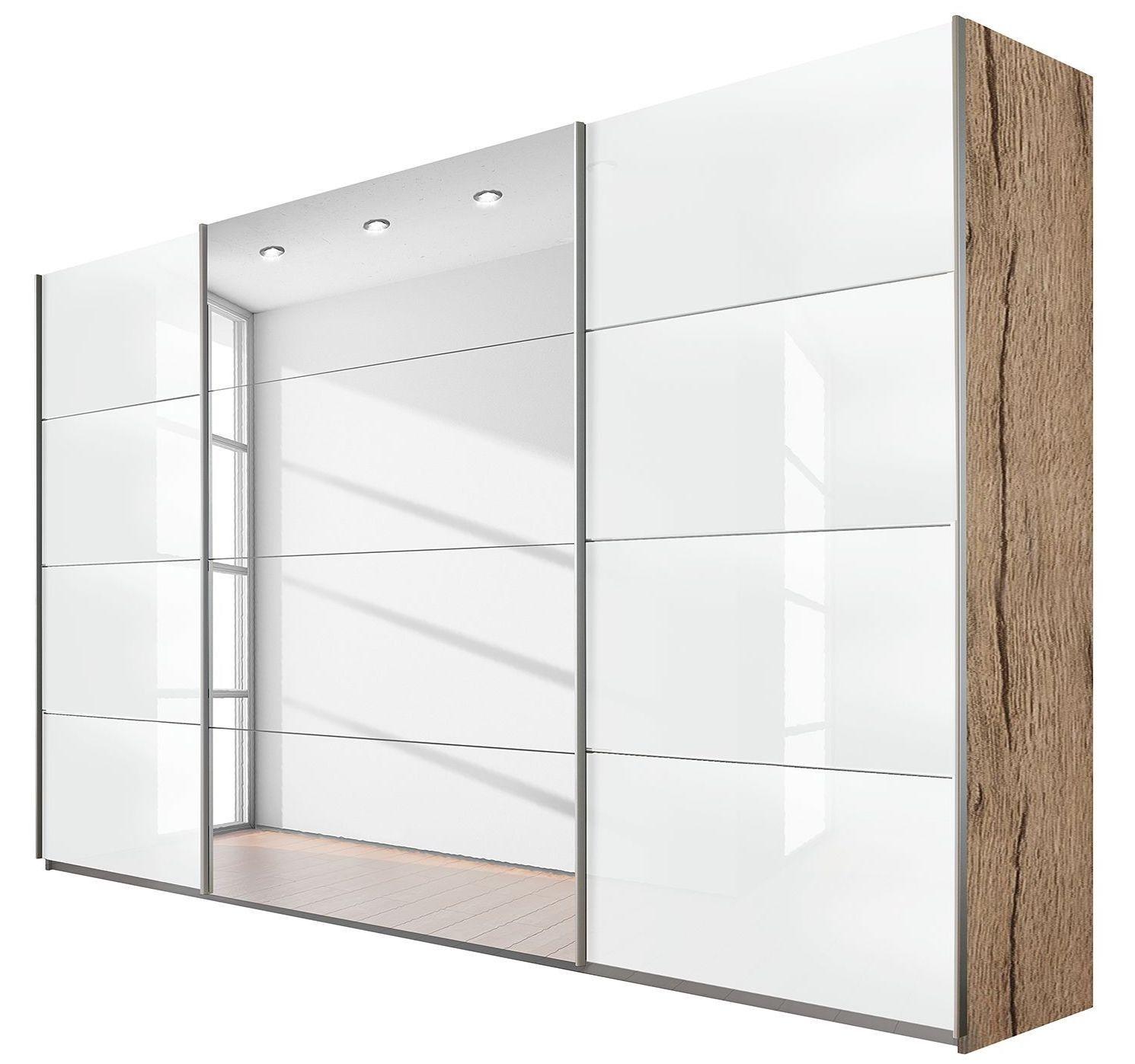 Armoire Design 3 Portes 315 Verre Teinte Blanc Et Chene Clair