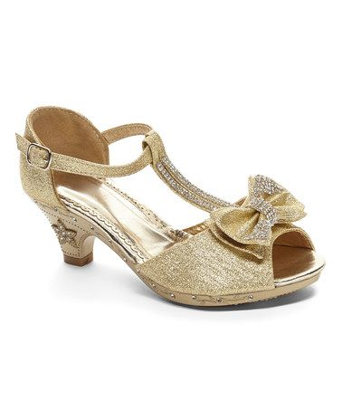 72af58105659 Loving this Gold Rhinestone Peep-Toe Bow Sandal on  zulily!  zulilyfinds