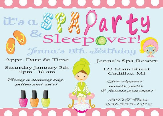 Spa Birthday Invitation Sleepover Party Glamour Printable