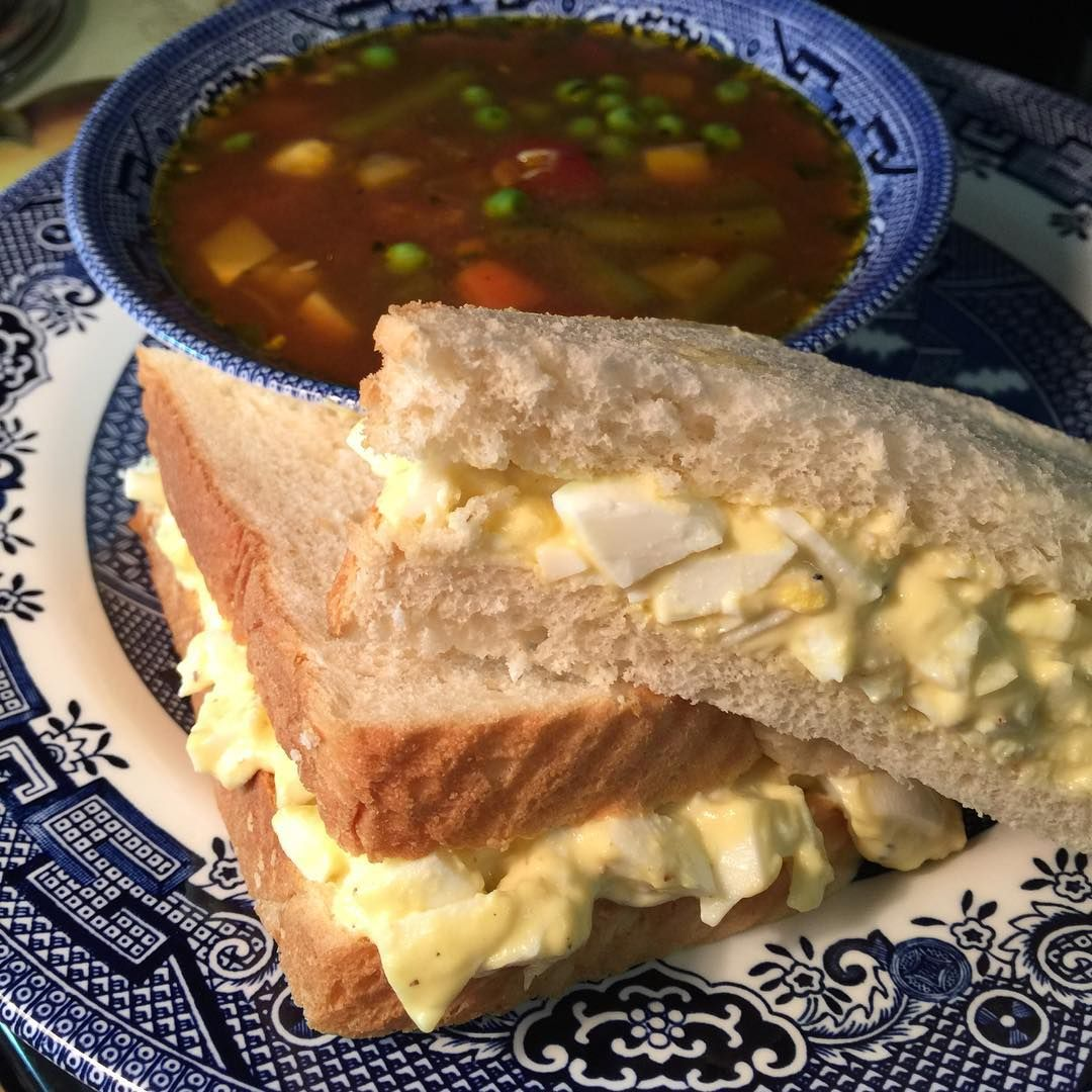 """""""Sometimes a gal just wants a chopped egg sandwich (boiled egg, mayo, S&P) on white bread. A side of homemade veggie soup is a bonus too! #lunch Use…"""""""