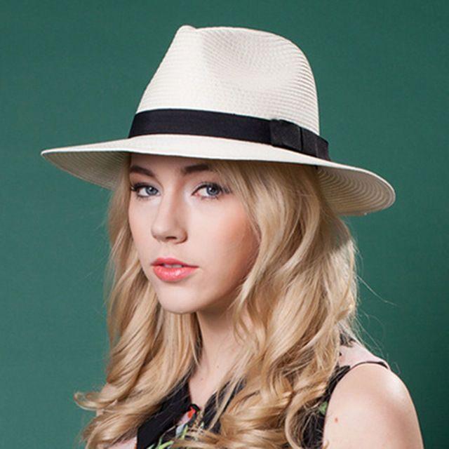 Men Women Straw Panama Hat Sombrero Fedora Trilby Cap Wide Brim Sunbonnet  Sunhat 64dc6211cce4