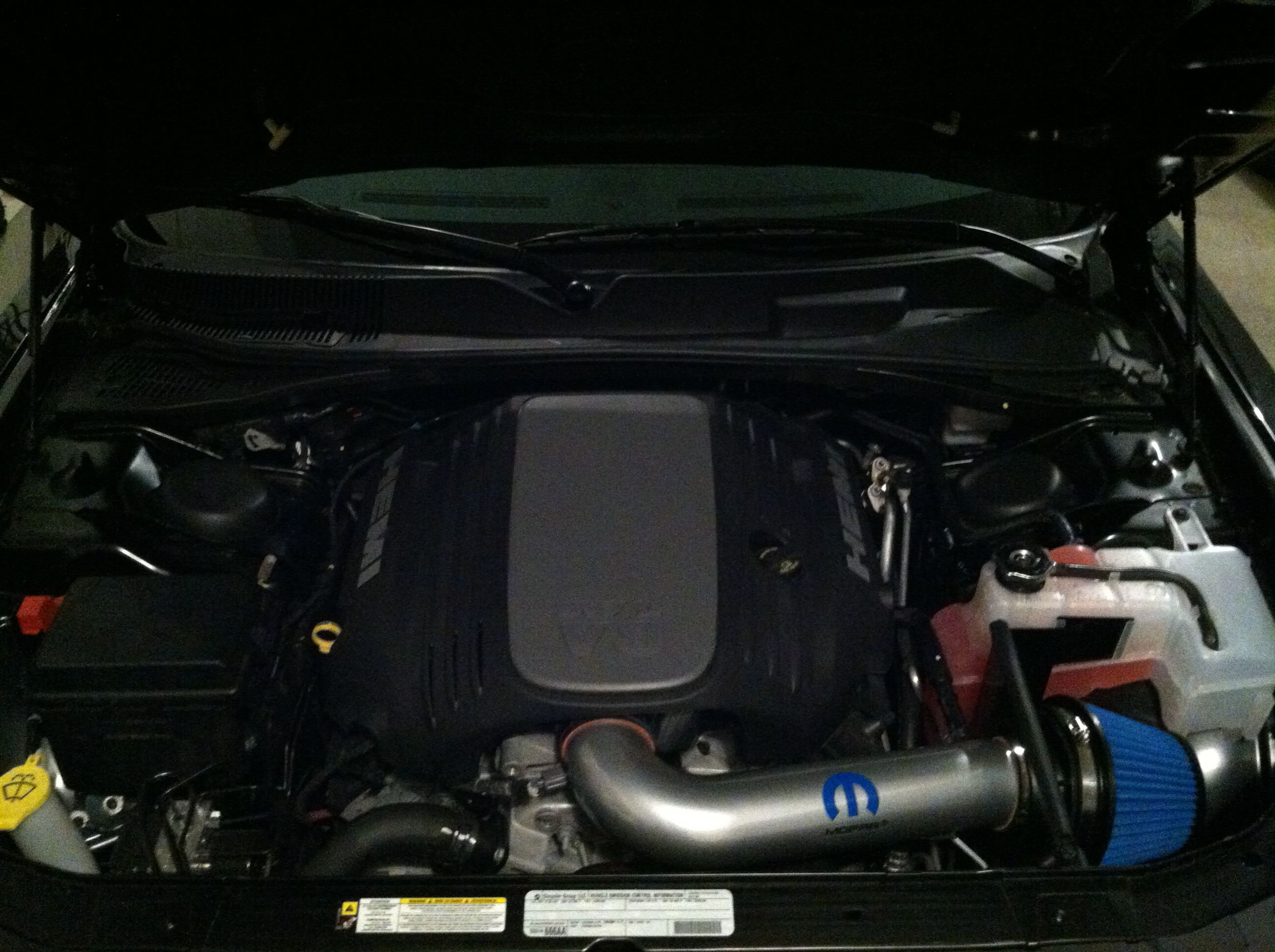 2012 Dodge Challenger 5 7l V8 Hemi Engine Compartment Mopar Cold Air Intake And Ta Hood Scoop 2012 Dodge Challenger Hemi Engine Dodge Challenger