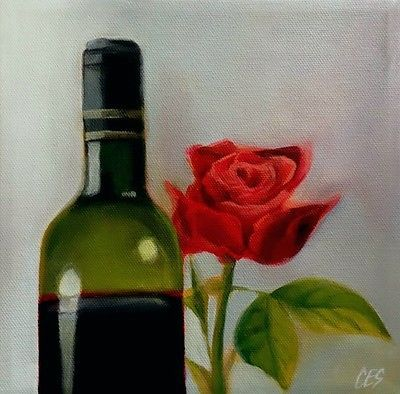 Original-PAINTING-CES-Red-Wine-Green-Bottle-Rose-Valentine-Gift-NFAC-Art-Sale