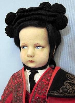 """17"""" Antique LENCI c1935 SPANISH MATADOR #300 Series Felt Doll Regional Costume"""