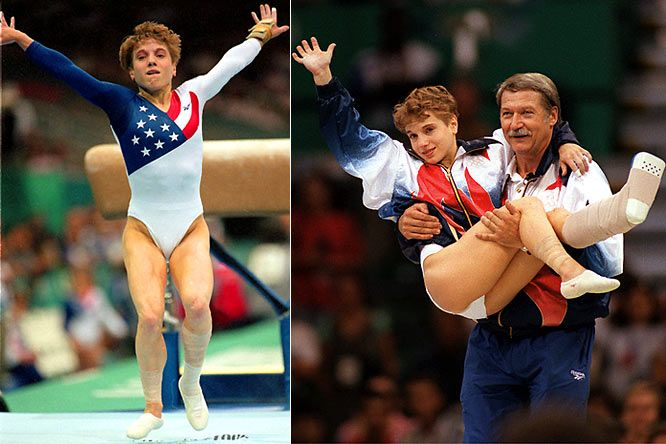 Kerri Strug.  Injured her ankle landing a vault, then went on to vault a second time, landing on one ankle and clinch the team gold medal in the 1992 Olympics.