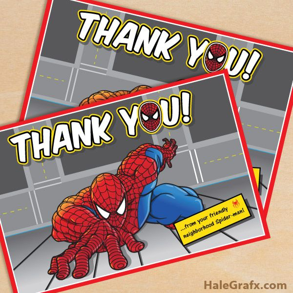 Free Printable Spiderman Thank You Card Comicssuper Heroes In