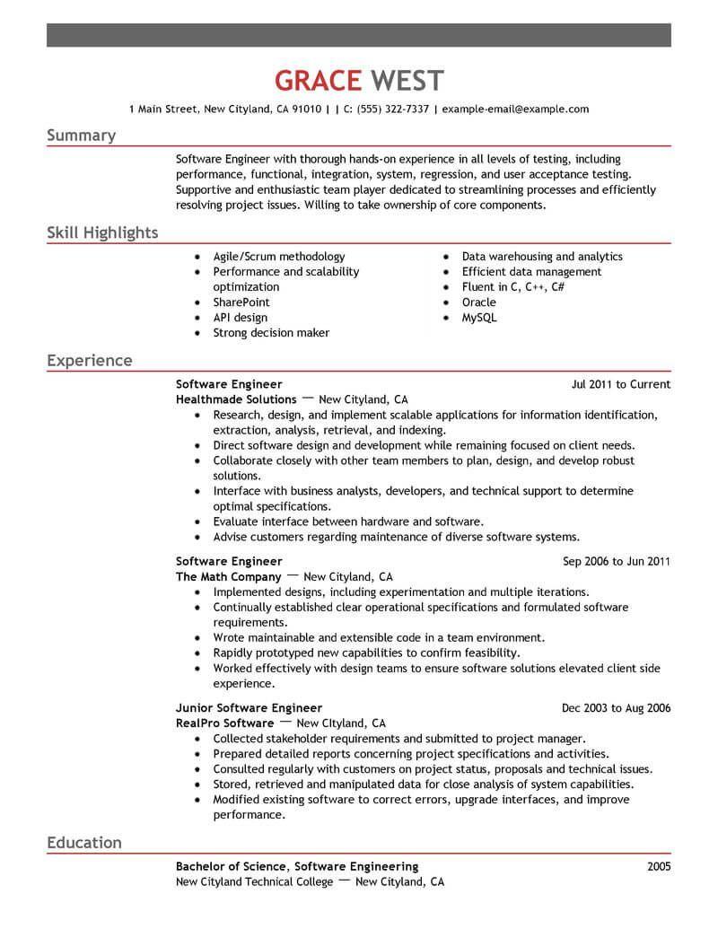 Resume Examples Developer Developer Examples Resume Resumeexamples Engineering Resume Templates Engineering Resume Good Resume Examples