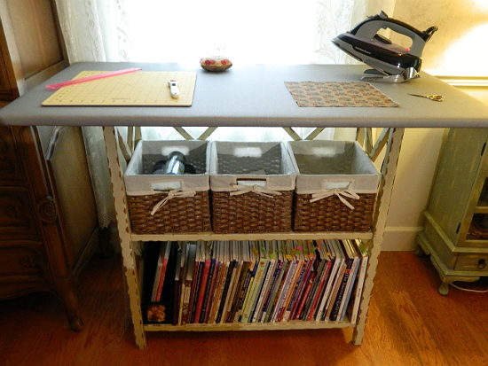 Create the Perfect Ironing Station for Quilting is part of Diy ironing board, Sewing room design, Sewing room storage diy, Sewing rooms, Ironing station, Sewing room organization - It Can be Used as a Cutting Table, Too! Would you love an ironing board designed for quilting  This one was made from a bookcase, a sheet of plywood and several layers of padding for the surface  It can also be used as a cutting table and has a nice amount of storage underneath  Plus, …