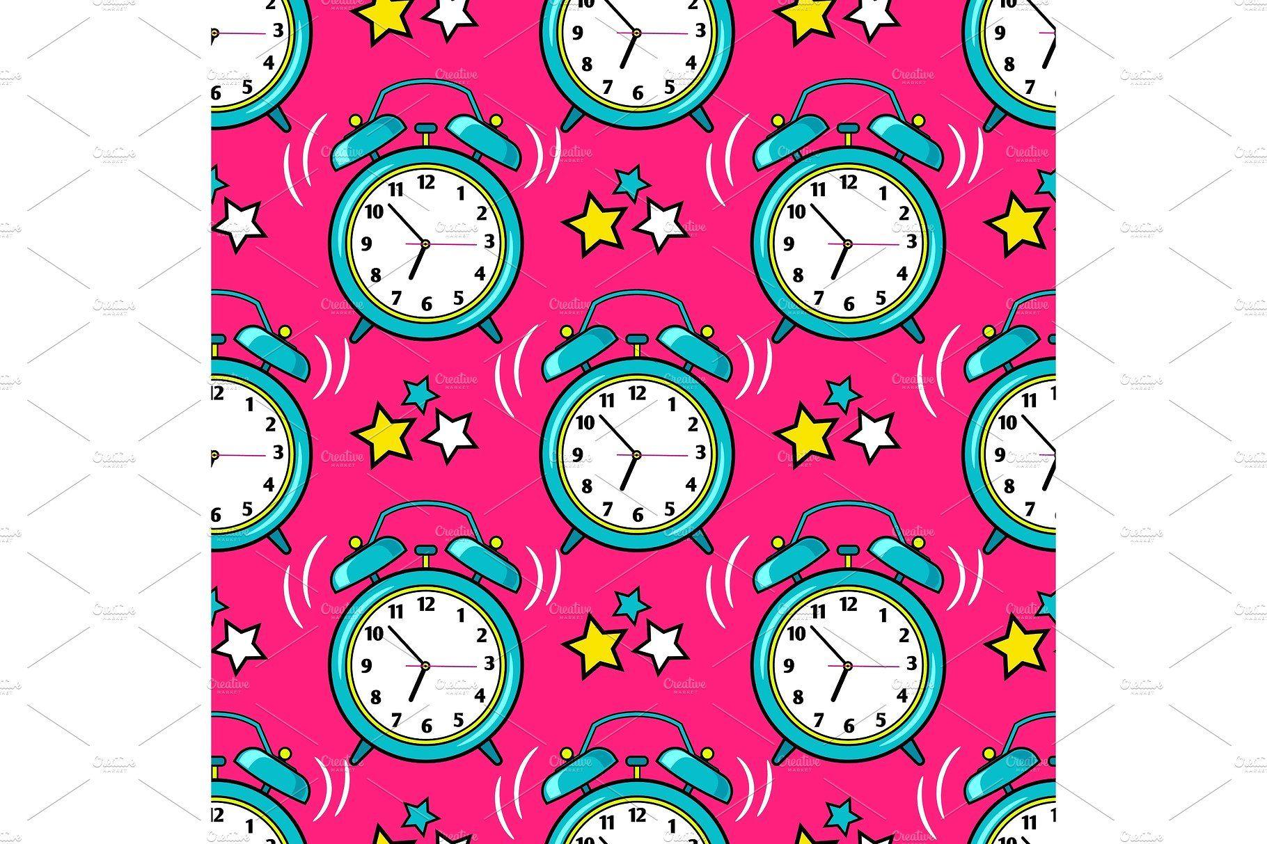 Bright alarm clock seamless pattern