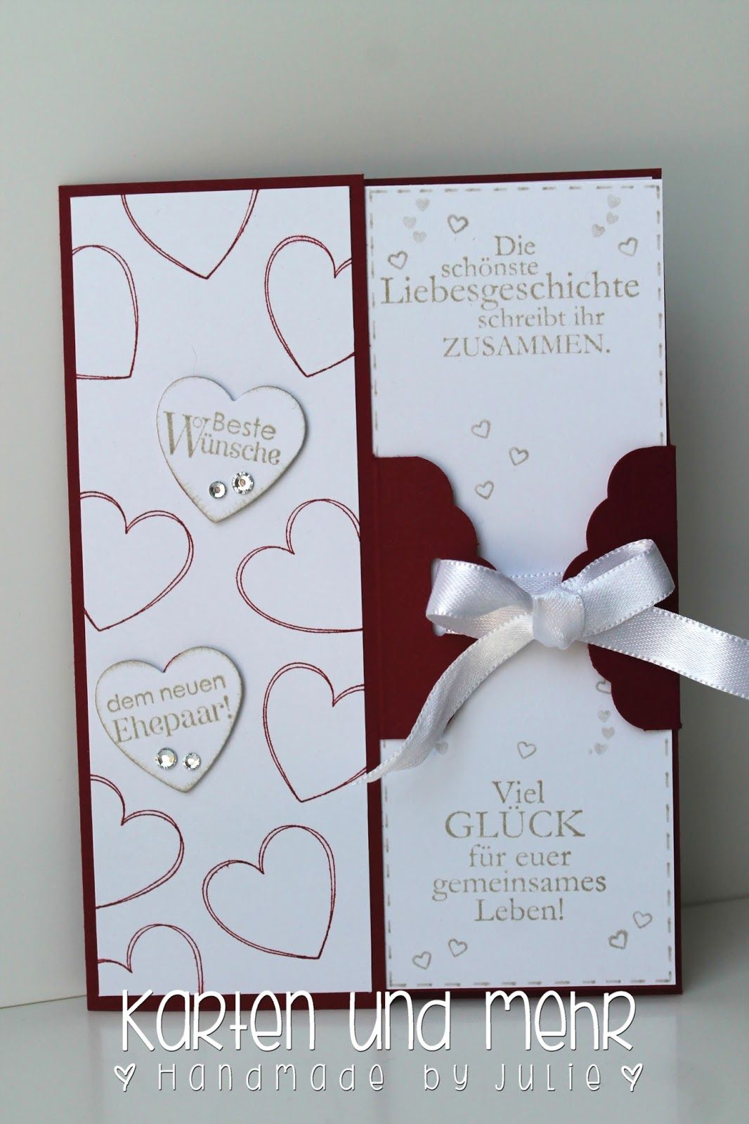 stampin 39 up gl ckwunschkarte zur hochzeit hearts a flutter karten. Black Bedroom Furniture Sets. Home Design Ideas