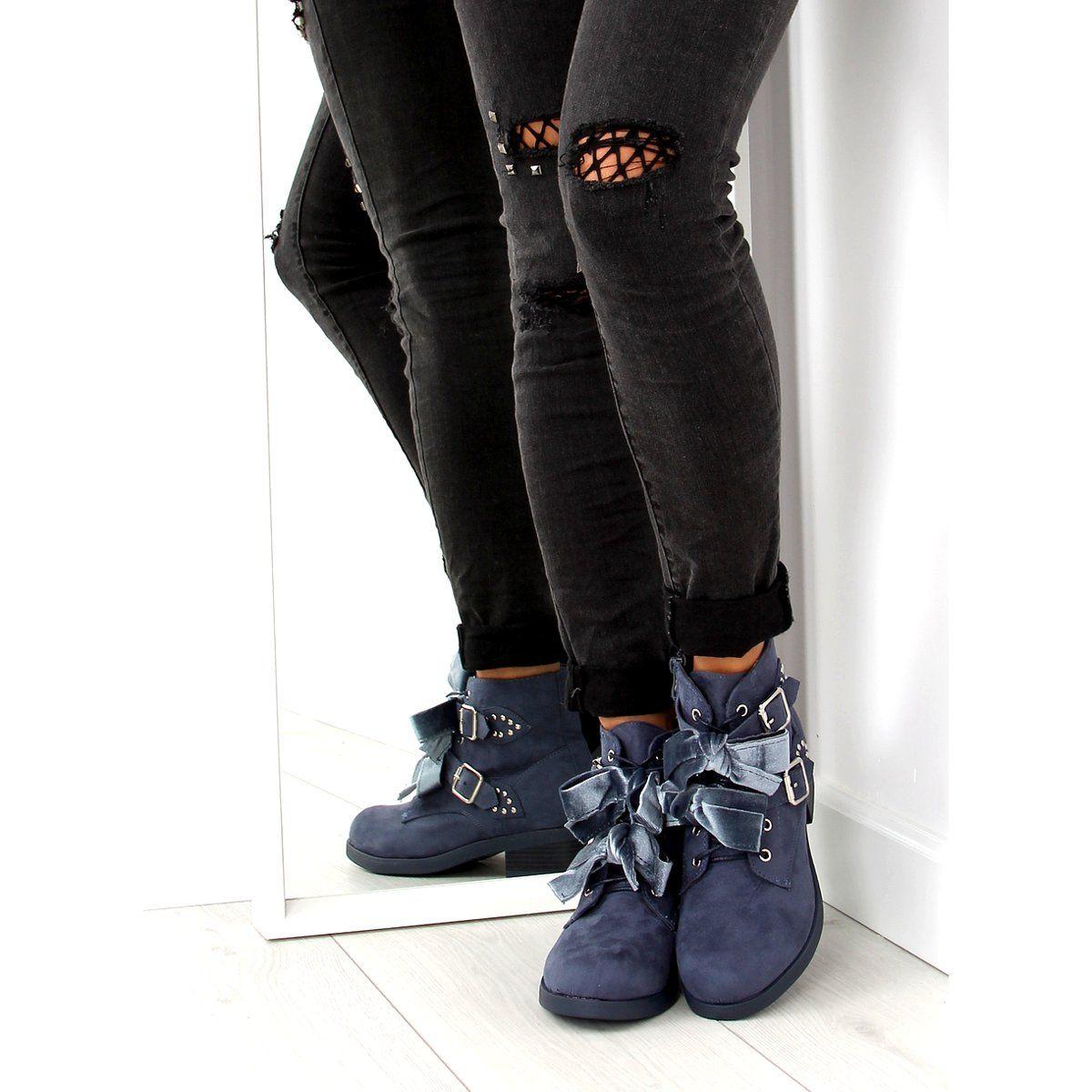 Botki Sznurowane Z Kokardkami Granatowe C 7101 Denim Niebieskie Black Jeans Fashion Black