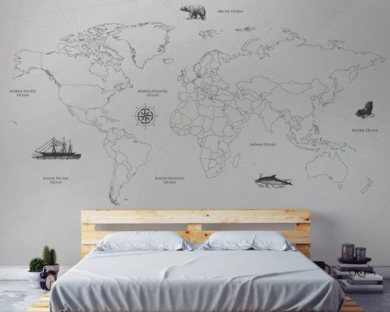 This beautiful nautical world map wallpaper will transform your this beautiful nautical world map wallpaper will transform your space its design simplicity enhances a gumiabroncs Gallery