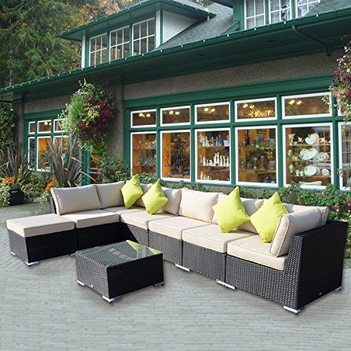 Outsunny 8PC Rattan Sofa Garden Furniture Aluminum Outdoor Patio