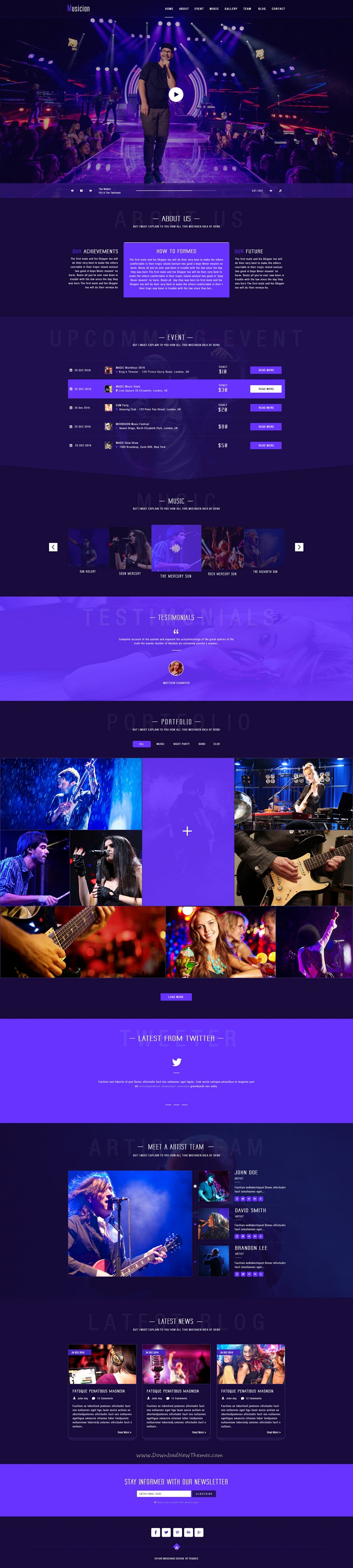 Musician - Artist & Band PSD Template | Psd templates and Template
