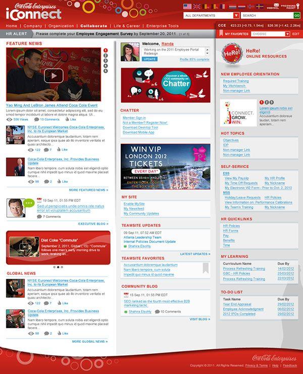 figure 2a the coca cola enterprises homepage coca cola enterpriseswebsite ideassharepoint designsharepoint intranetsocial entrepreneurshipsocial - Sharepoint Design Ideas