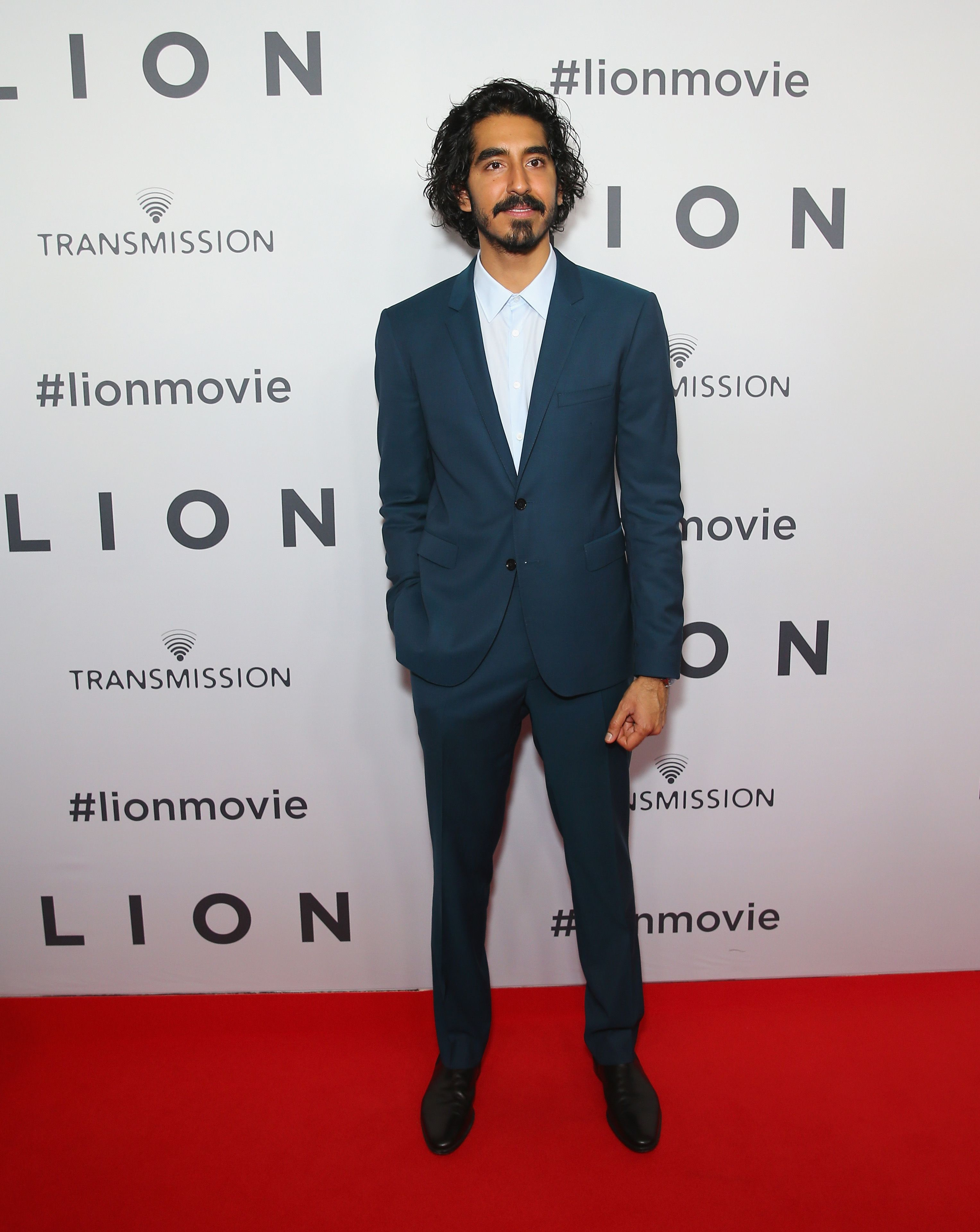 Actor Dev Patel wearing Burberry tailoring to the premiere of Lion in Sydney
