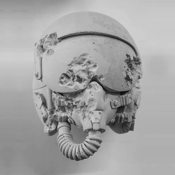 First look at Daniel Arsham's Rose Quartz Eroded Jet Fighter Helmet that will be on display at Cincinnati's Contemporary Arts Center on March 20th.