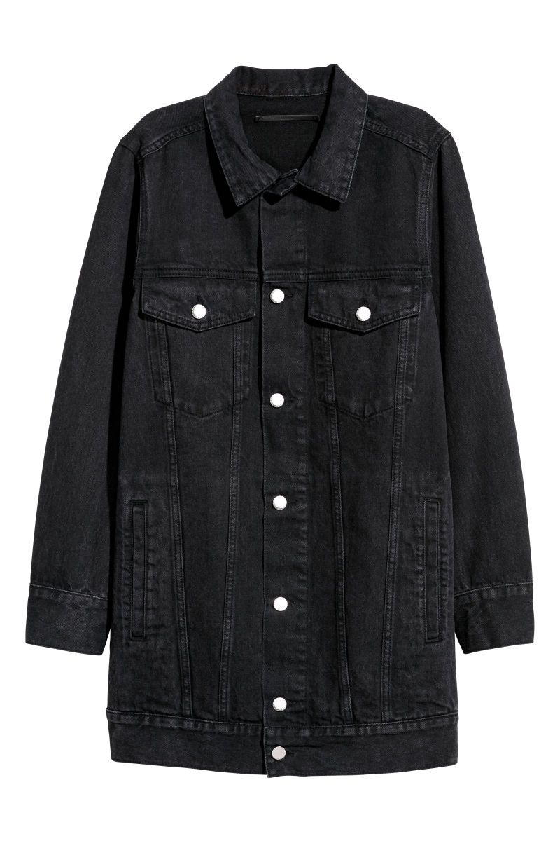 Black Washed Out Long Jacket In Washed Denim With 3 4 Length Sleeves Collar Buttons At Fro Long Denim Jacket Oversized Black Denim Jacket Black Denim Jacket [ 1200 x 800 Pixel ]