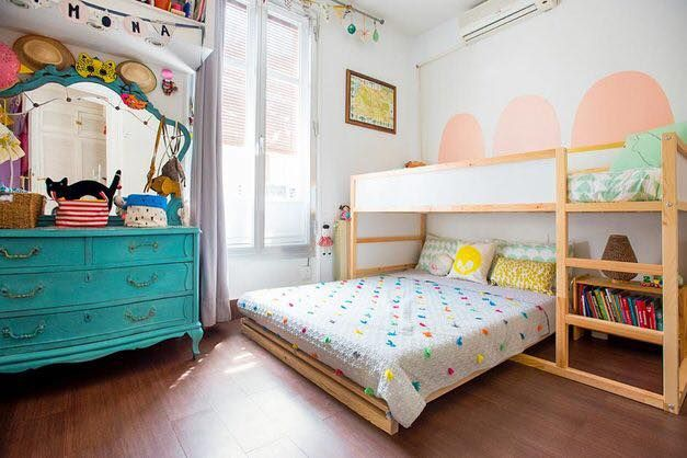 It S The Ikea Kura But With A Double Bed Underneath The Bed Is On A Low Frame So No Concerns About A Mattress O Ikea Kura Bed Ikea Bunk Bed Toddler