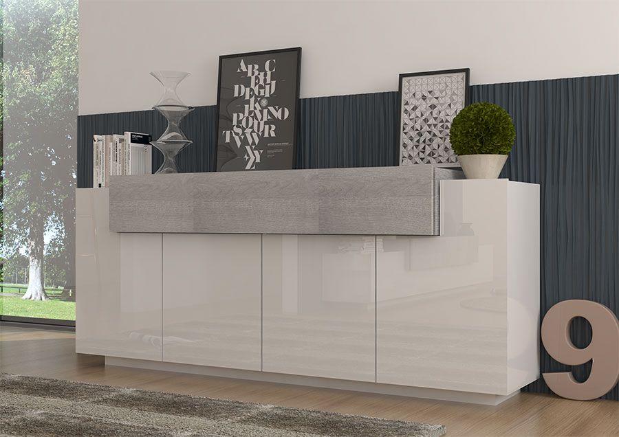 buffet enfilade blanc laqu et bois gris moderne falala. Black Bedroom Furniture Sets. Home Design Ideas