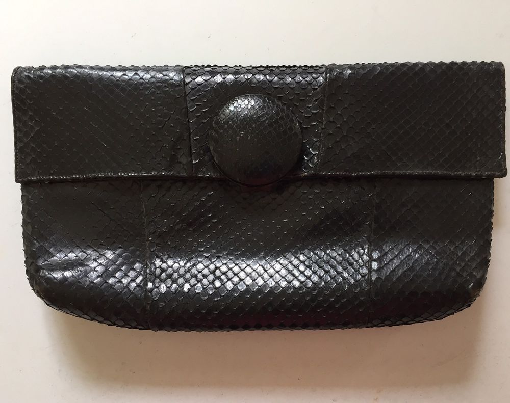 vintage black clutch purse genuine reptile stylish classic wonderful 6x12 ebay [ 1000 x 791 Pixel ]