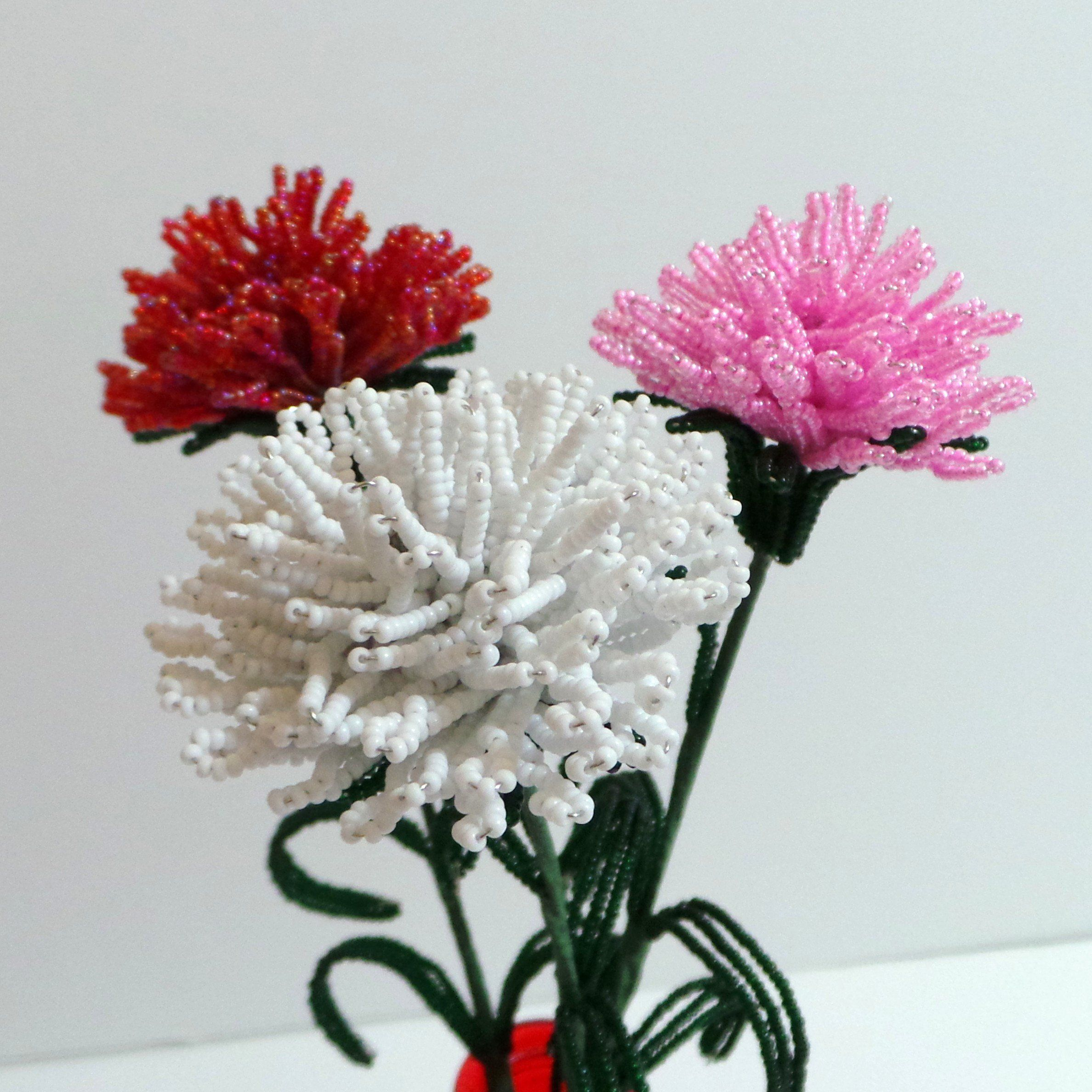 French Beaded Flowers Three Carnations In Red White Pink Beaded Flowers French Beaded Flowers Flowers