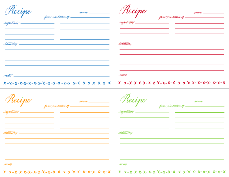 Printable Recipe Cards 4X6 Free | avie designs: MAMIE'S RECIPE ...