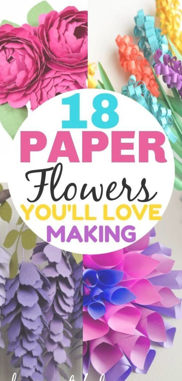 18 stunning paper flower tutorials to help you learn how to make DIY paper flowers from tissue paper, make giant paper flowers make easy ones and with a Circut too! #crafts #easycrafts #diycrafts #springcrafts #papercrafts #parties #diyparties #decorations #giantpaperflowers