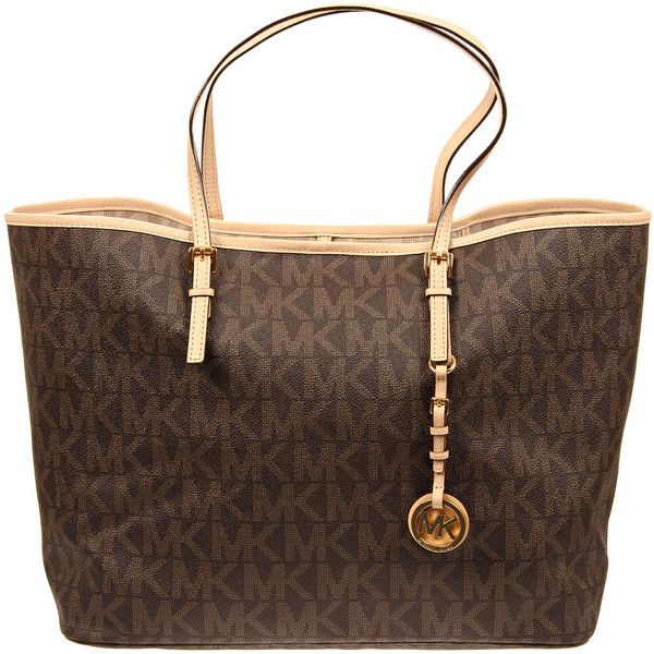82c822339b88a7 MICHAEL Michael Kors Brown PVC Logo Jet Set Large Tote Bag (995 QAR) ❤  liked on Polyvore featuring bags, handbags, tote bags, purses, bolsas,  borse, ...