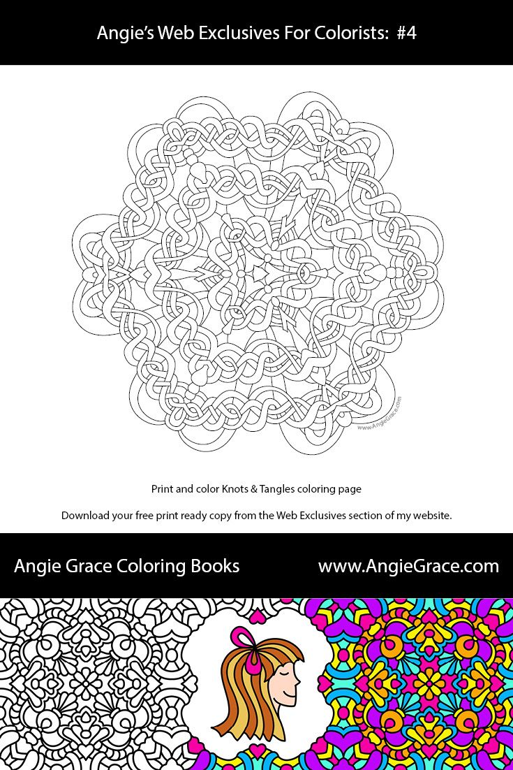 Angie Grace Knots & Tangles coloring page. For markers or colored ...