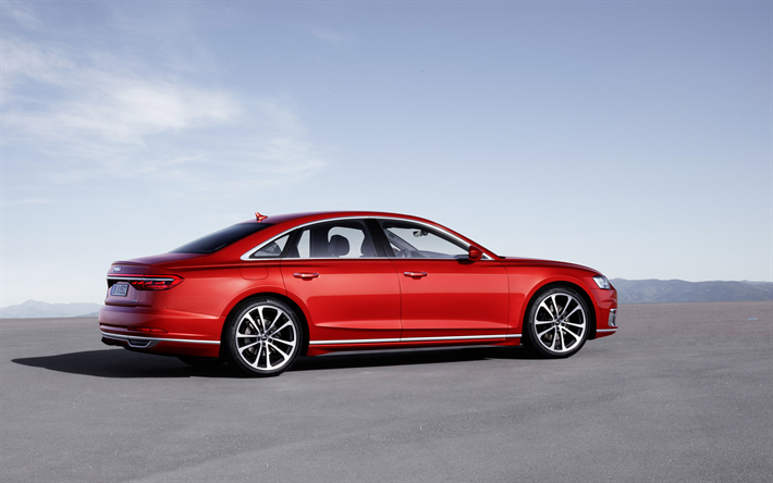 Download wallpapers Audi A8 2018 4k luxury red sedan new A8
