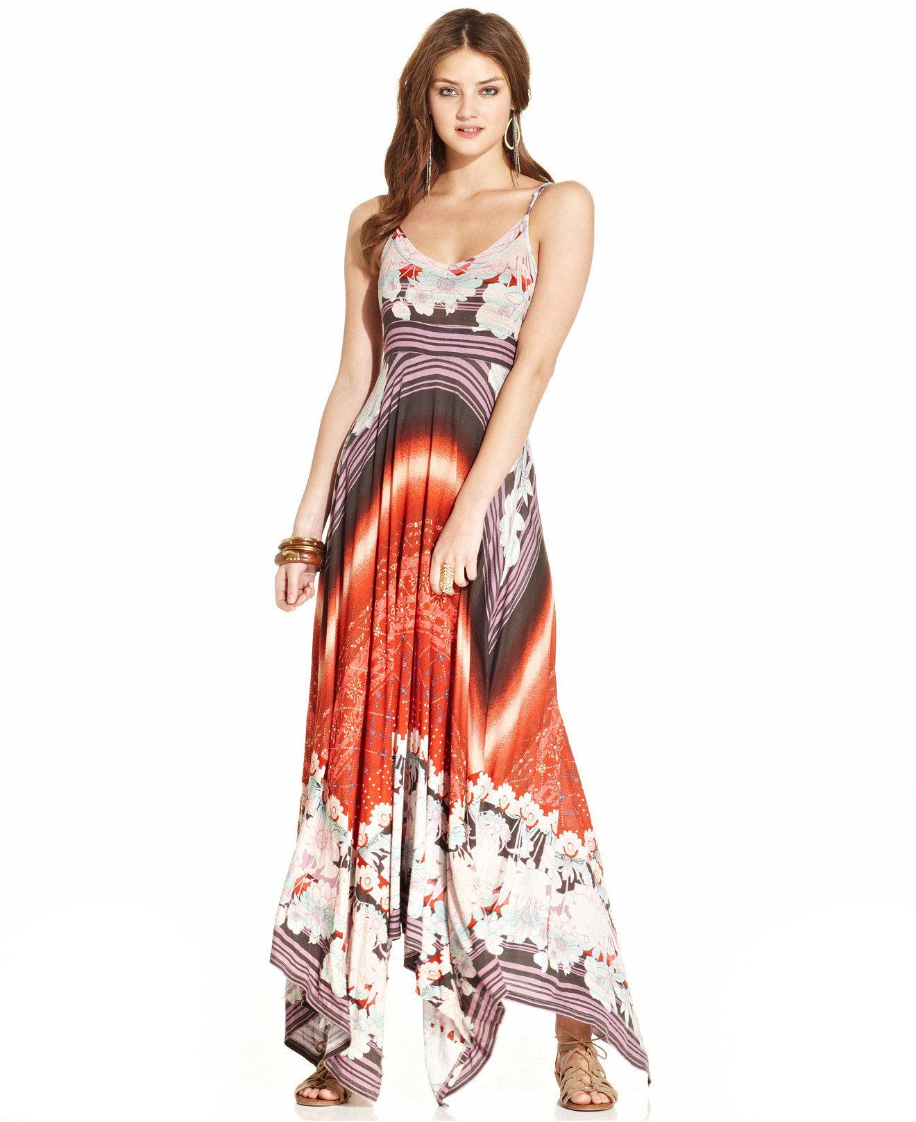 American Rag Printed Handkerchief Hem Maxi Dress Juniors Dresses