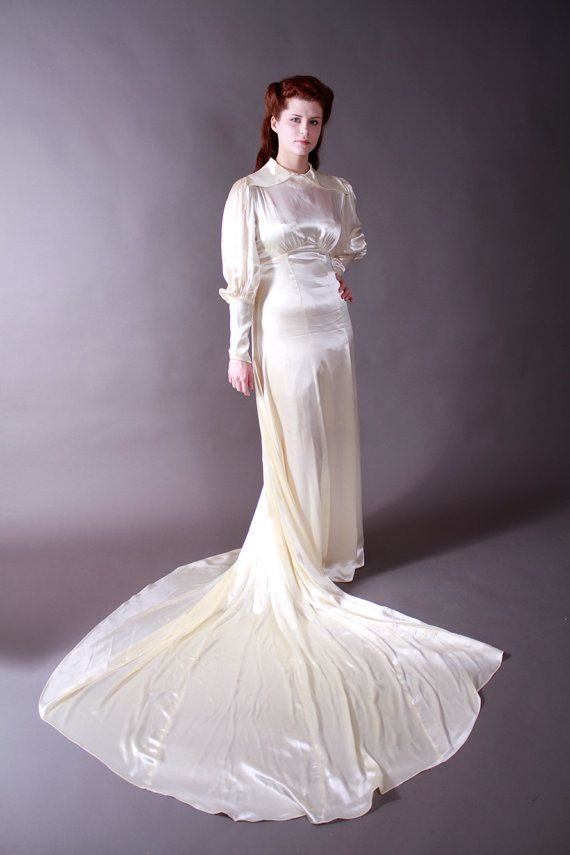 Vintage Late 1930s Wedding Dress - Gleaming Rayon Satin Gown with ...