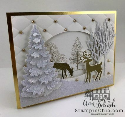 An elegant card created using Stampin' Up!'s Dashing Deer set and In the Woods framelits. Sparkle Glimmer Paper and Gold Foil are combined with Shimmery White cardstock. Gold pearls serve as accents.