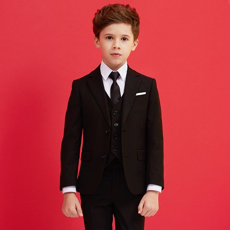 Pants and Tie Boys Formal Black Suit Toddler Kids Clothes Jacket Vest Shirt