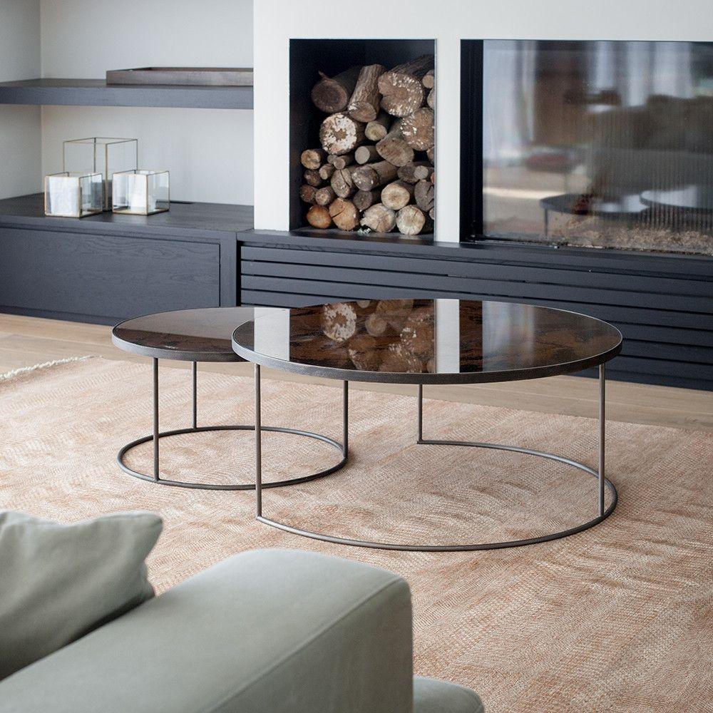 Bronze heavy aged mirror round nesting coffee table set