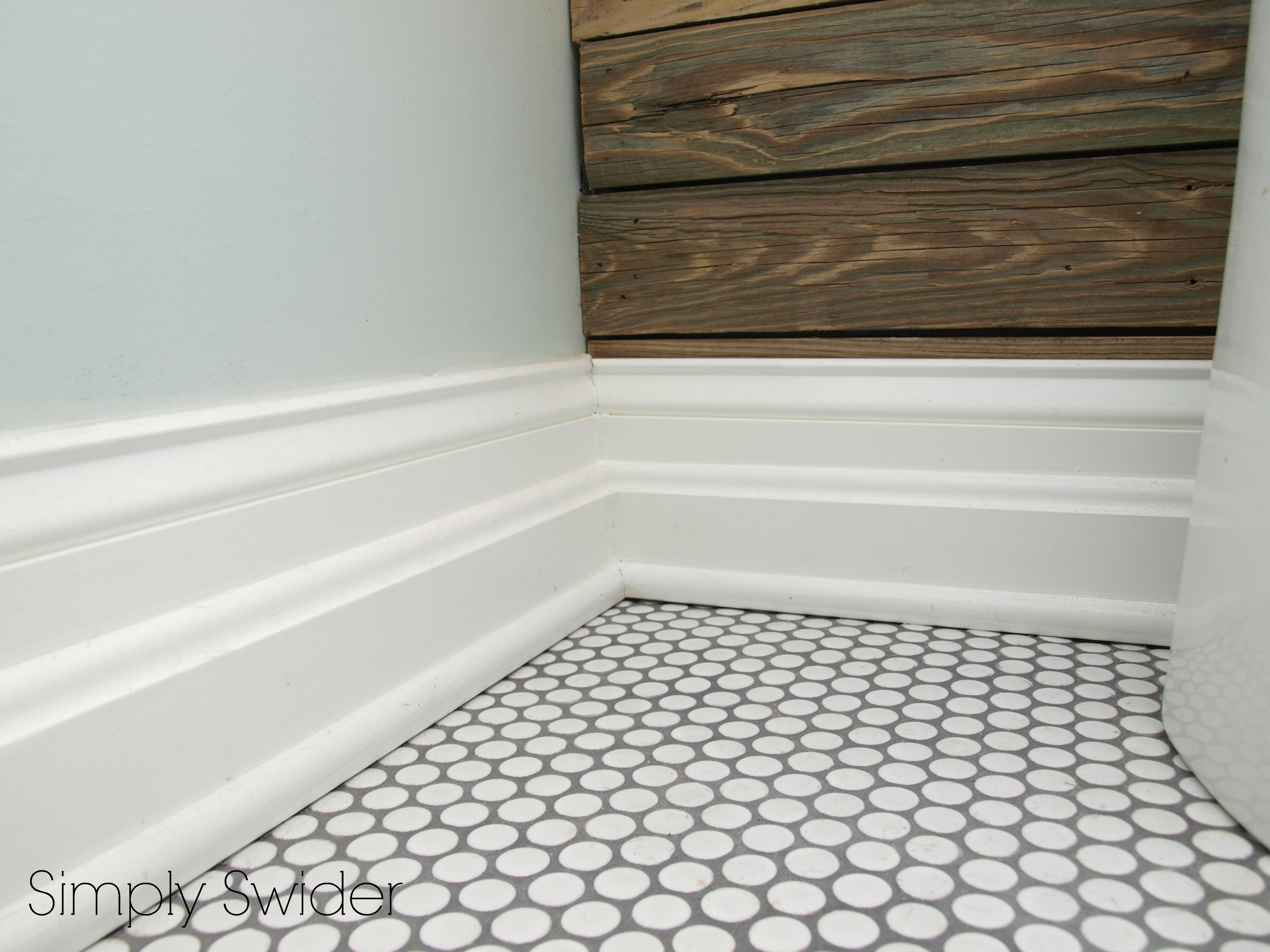 White Penny Tile W Grey Grout Pale Walls Powder Room Primrose