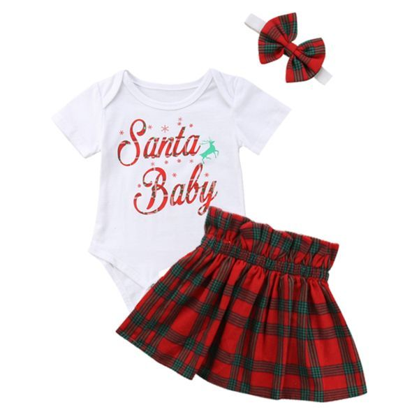 Mother & Kids Girls' Baby Clothing Steady Newborn Infant Baby Girls Christmas Outfit Ruffled Cap Sleeves Cartoon Reindeer Printed Romper With Tutu Skirt Set Outfits