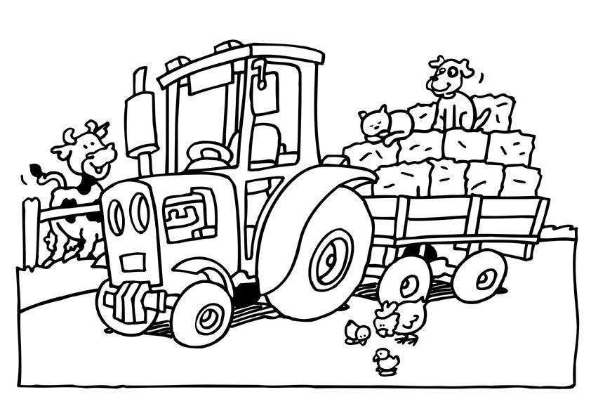 kleurplaten boerderij tractor