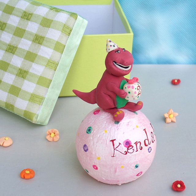 Personalized Barney birthday cake topper