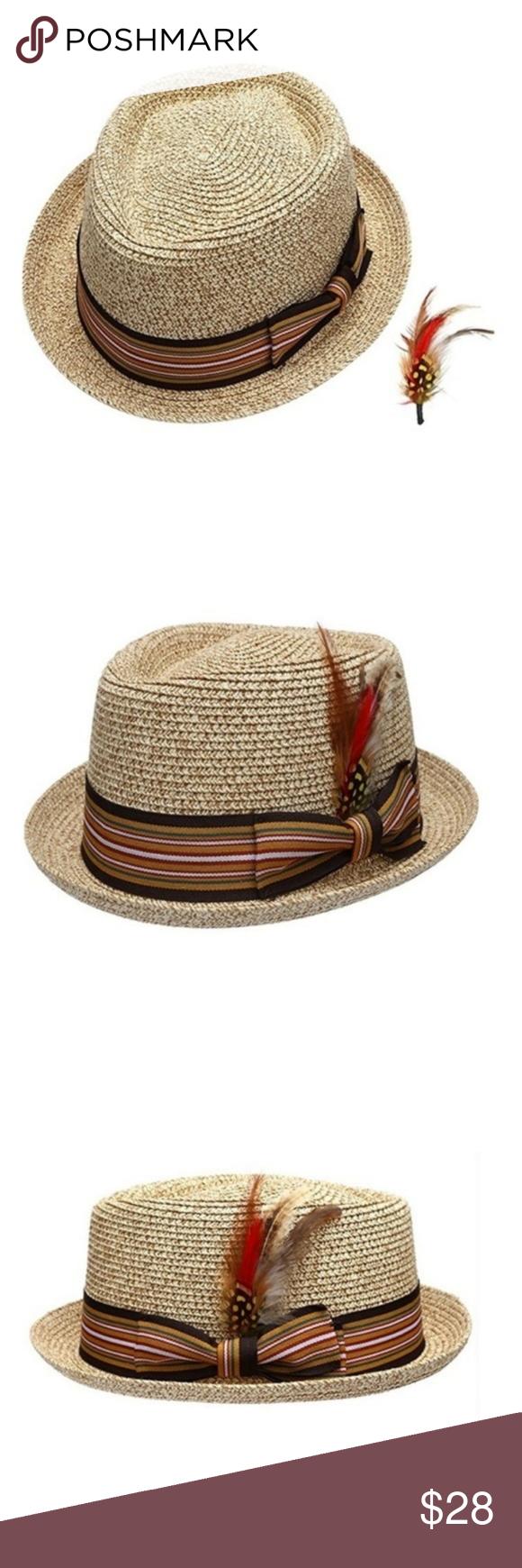 df234ea30b2f7 Men s Natural Color Straw Fedora Hat Men s Natural Color Straw Fedora Hat.  Features- Rounded
