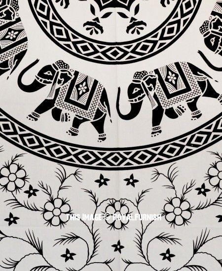 Large Black and White Elephant Mandala Tapestry Bedding Bedspread images