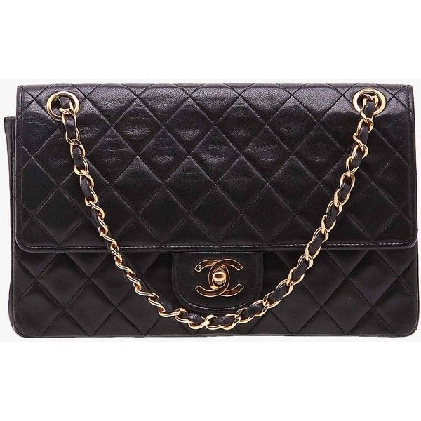 Pre-owned Chanel Lambskin Medium Double Flap Bag ($1,620) ❤ liked on Polyvore featuring bags, handbags, black, preowned handbags, lambskin purse, lambskin bag, lambskin leather handbags and chanel purses