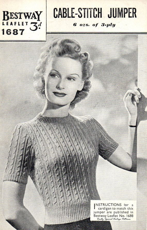 Vintage Cable Stitch Jumper Knitting Pattern By Pamoolahvintage