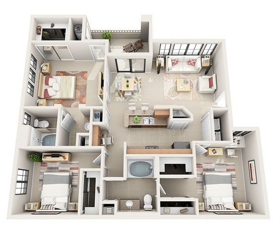 Three Bedroom Apartment Sims House Design Apartment Layout Sims House Plans