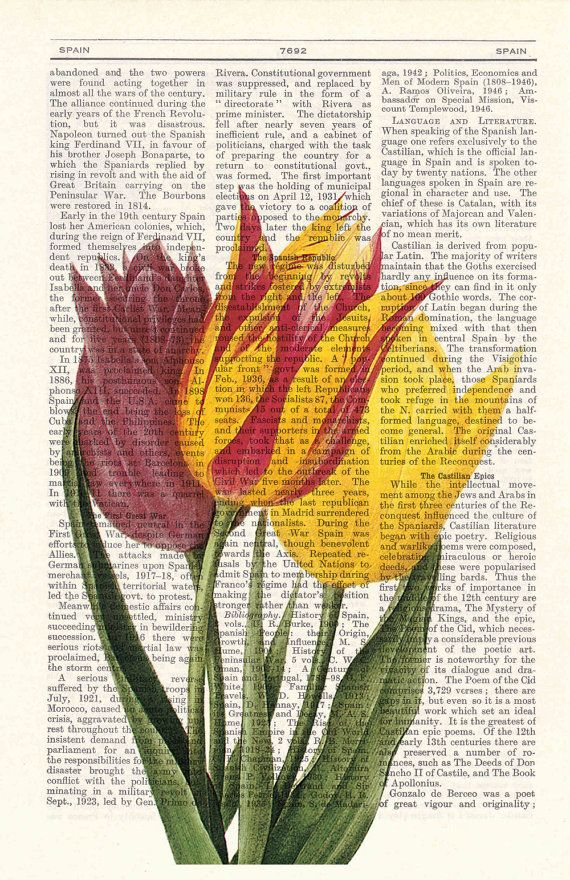 Vintage Tulips Book Print Dictionary or Encyclopedia by PRRINT #dolistsorbooks