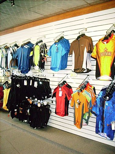 Soccer jersey display for sporting apparel store
