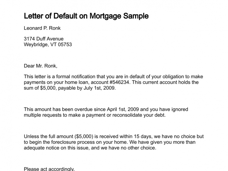 Letter Of Default On Mortgage Sample  Ooooo    Letters